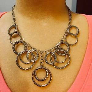 Necklace with silver tone circles & duel chains
